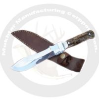 Hunting knife antler handle