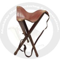 Three leg stool with leather seat and belt