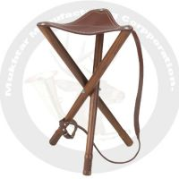 Three leg stool with leather seat