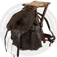 Real leather bag with wood chair