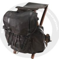 Leather bag with wood stool